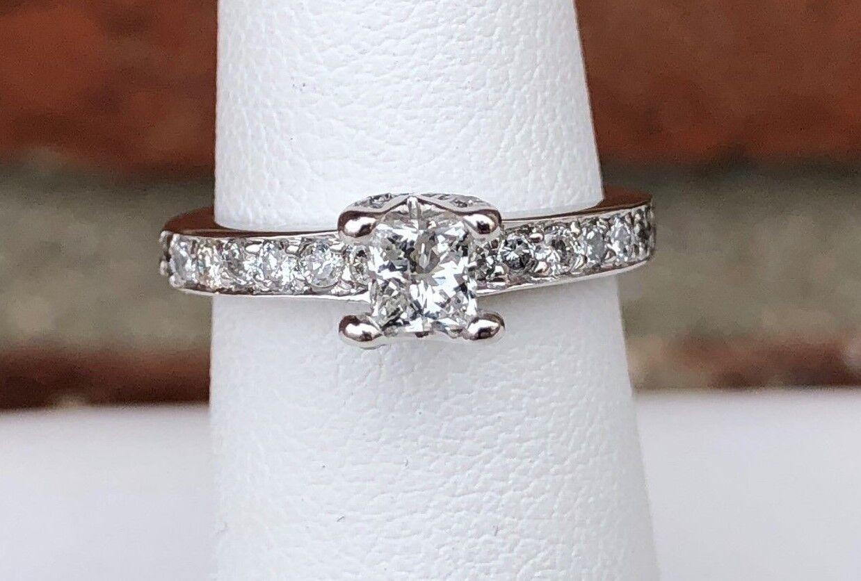 14K WHITE gold PRINCESS CUT 5 8CT DIAMOND ENGAGEMENT RING SIZE 3.5