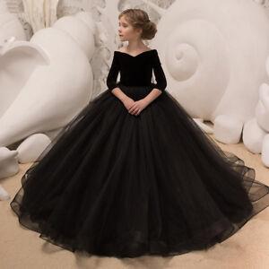 91ab1cbfd7321 Details about Elegant Kids Flower Girl Dress Half Sleeve Black Princess  Wedding Party Birthday