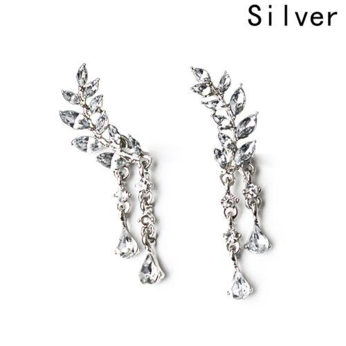 Sliver Plated Crystal Leaf Ear Cuff Climber Crawler Stud Earrings Pretty 1 Pair