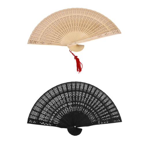 2//set Vintage Wood Carved Hand Fan Foldable Pocket Fan Black /& Wood Tone