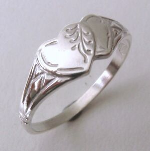GENUINE-SOLID-925-STERLING-SILVER-DOUBLE-HEART-SIGNET-RING-Sizes-J-5-to-Q-8-5