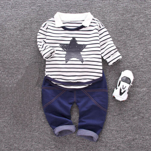 1 set baby toddler boys autumn outfits pullover shirt /& jeans Kids outfits star