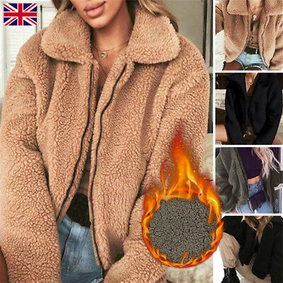 Women/'s Winter Teddy Bear Pocket Fluffy Coat Fleece Fur Jackets Outerwear Hoodie