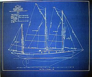 marine architect drawing sailboat 1913 blueprint plan drawing 19 x24