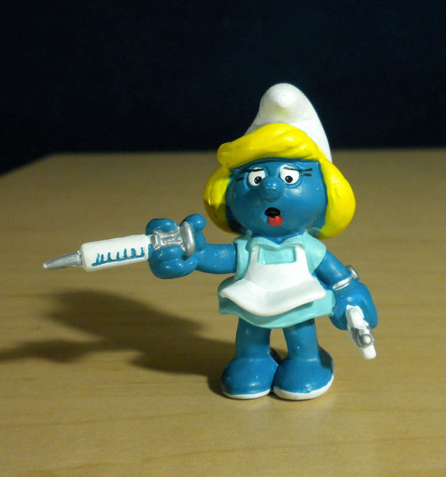 Smurfar 20139 Sköterska Smurfan Vit apron årgång Smurffigur PVC Figur