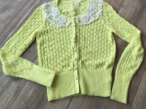 Anthropologie Ny Bird Lace Cardigan Crochet Yellow Sweater Citron M rWrqwZgSxv