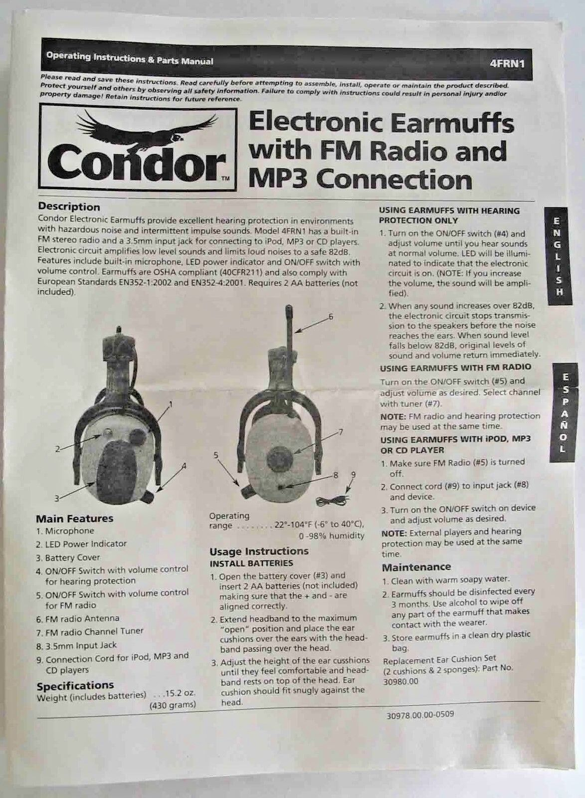 Condor Electronic Earmuffs With Fm Radio And Mp3 Connector 4frn1 2 Way Switch Failure 5e1 Ebay