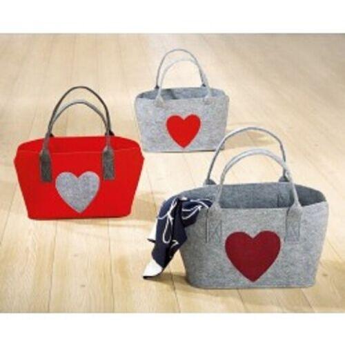Gilde Filztasche rot B46xH26xT23 Einkaufstasche mit Herz