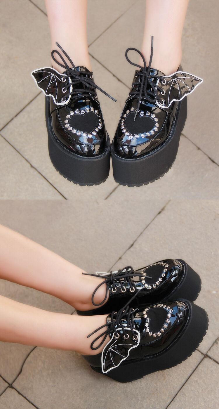 Gothic Lolita Punk Wing Flügel Damen-schuhe Pumps Plateau Platform Cosplay Bat