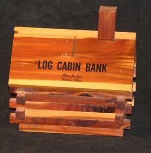 Vintage Wood Log Cabin Bank Travel Souvenir Bank Blue Jacket Xenia ...