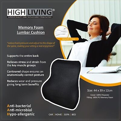Highliving /® Memory Foam Lumbar Back Support Cushion Home Car Auto Office Seat Grey