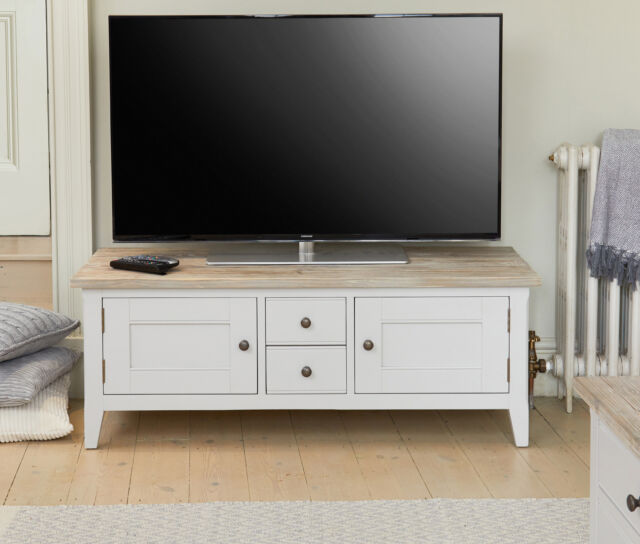 Signature Grey Painted Furniture Widescreen Television Stand W Doors And Drawer
