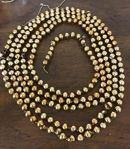 Vintage Gold Mercury Glass Christmas Feather Tree Garland Beads 7 1/2 Feet
