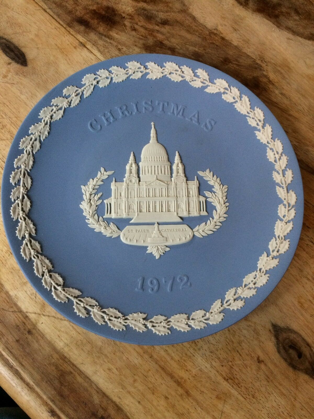 Image 1 - Wedgwood Jasper Ware Blue plate Christmas 1972 - St Paul's Cathedral