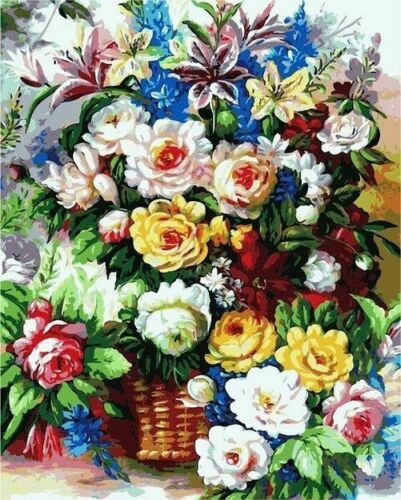 Flower In Vase Oil Painting By Numbers DIY Canvas Kits Wall Arts Home Decoration