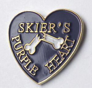 SKI-SKIER-039-S-PURPLE-HEART-SKIER-SKIING-LAPEL-PIN-BADGE-3-4-INCH