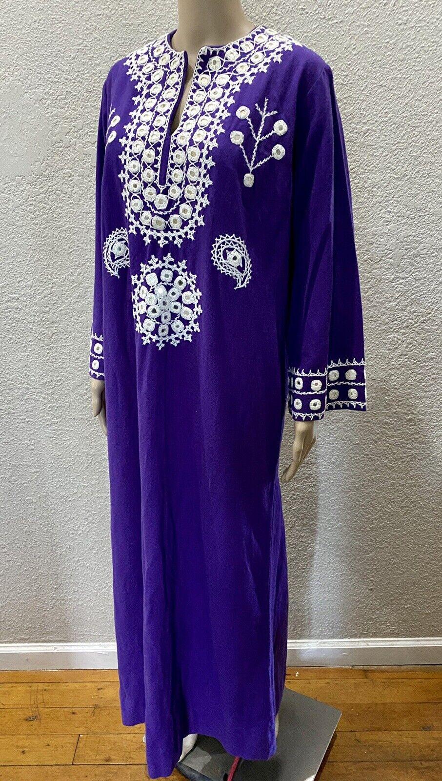 Ramona Rull Purple Cotton MIRROR Embroidery 60s B… - image 3