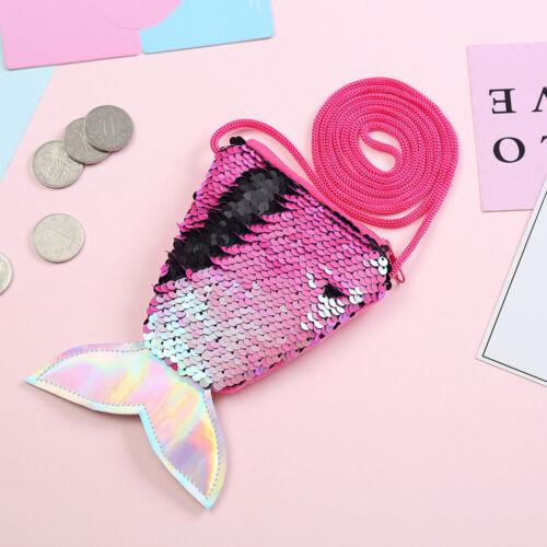 Mermaid Women Girl Children Sequins Money Hand Bag Mini Coin Wallet Purse