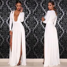 Celebrity Kim Kardashian Like Deep V Neck Long Sleeve Split Party Dress.