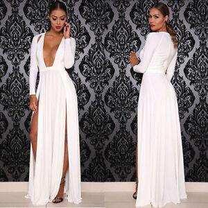 Details About Celebrity Kim Kardashian Like Deep V Neck Long Sleeve Split Party Dress