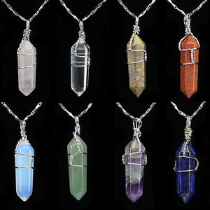 stone fluorescent necklace purple crystal product leather tomtosh pendant chain natural hexagonal