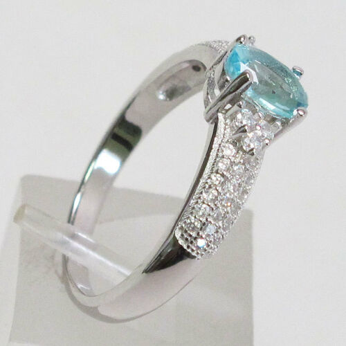 REMARKABLE 1 CT OVAL CUT AQUAMARINE  925 STERLING SILVER RING SIZE 5-10
