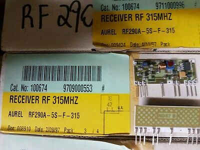 LOT OF 10 RF290A-5S-F-315 RECEIVER RF 315 MHZ AUREL