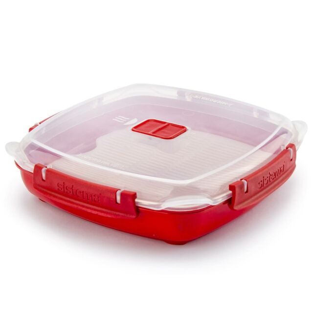 Sistema Microwave Plate with Lid & Removable Steaming Tray, Red - Medium, 880ml
