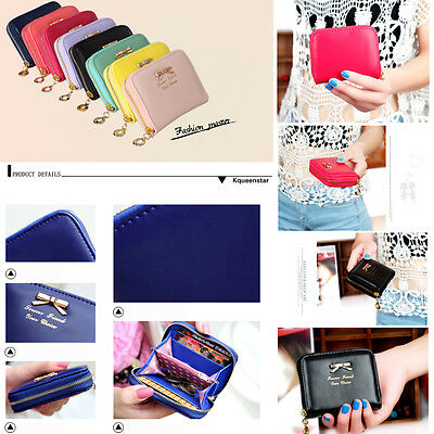 Women's Fashional Mini PU Leather Purse Zip Around Wallet Card Holders Handbag