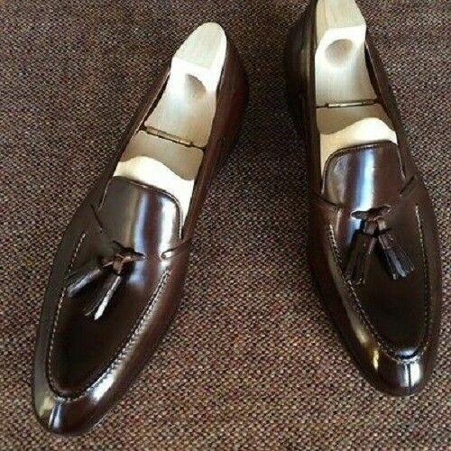 Mens Bespoke Shoes Handmade Brown Leather Tassels Moccasins Formal Slip On Boots