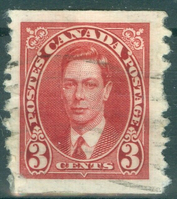 Canada 1937 - 3¢ Carmine King George VI Mufti Issue Coil Sc#240