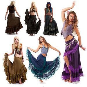 polveroso Lace Gonna Lilla viola Moda Boho Wraparound Goa Gypsy rosso Bohemian lunga blu Doof Hippy Nero O7OI6