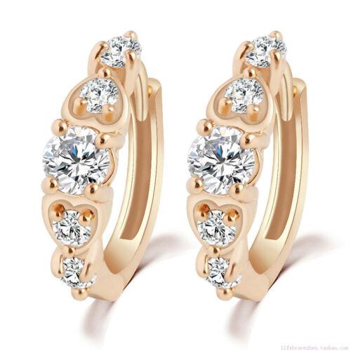 Women Diamante Crystal Rhinestone Hoop Earring  Gold Plated Jewelry Earrings LA