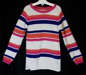 Girls-TU-White-Pink-Blue-Stripe-Knit-Texture-Long-Line-Warm-Jumper-Age-3-4-Years