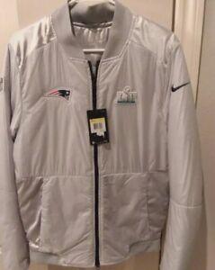 sale retailer 56733 77c59 Nike England Patriots Silver Coat Winter Bomber Jacket NFL Super Bowl  Bq2639 043