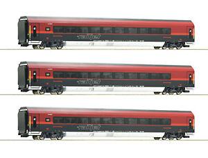 Roco-H0-64191-Set-de-Wagons-034-Railjet-034-le-Obb-034-avec-Italienzulassung-034-1-87