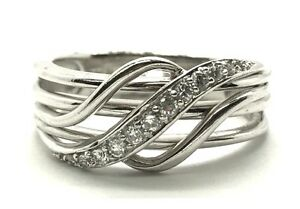 Baguette Wave Overlap Cocktail Ring Sz 7 Sterling Silver Elegant Diamond Pave