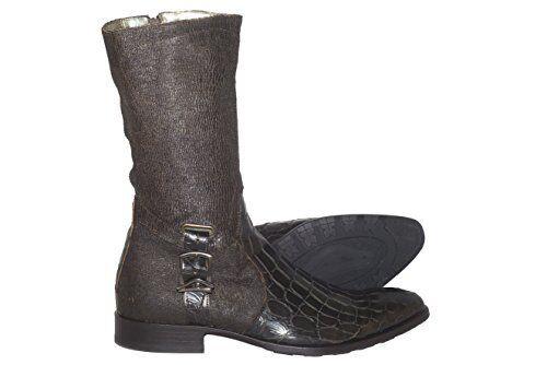 Carlo Ventura 2820 Men's Brown Leather and Crocodile Print Combo Knee High Boots