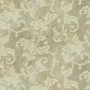 Wallpaper-Designer-Acanthus-Leaf-Scroll-with-Gold-Glitter-on-Taupe-Faux