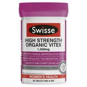 SWISSE-HIGH-STRENGTH-ORGANIC-VITEX-1500MG-60-TABLETS-FEMALE-REPRODUCTIVE-HEALTH