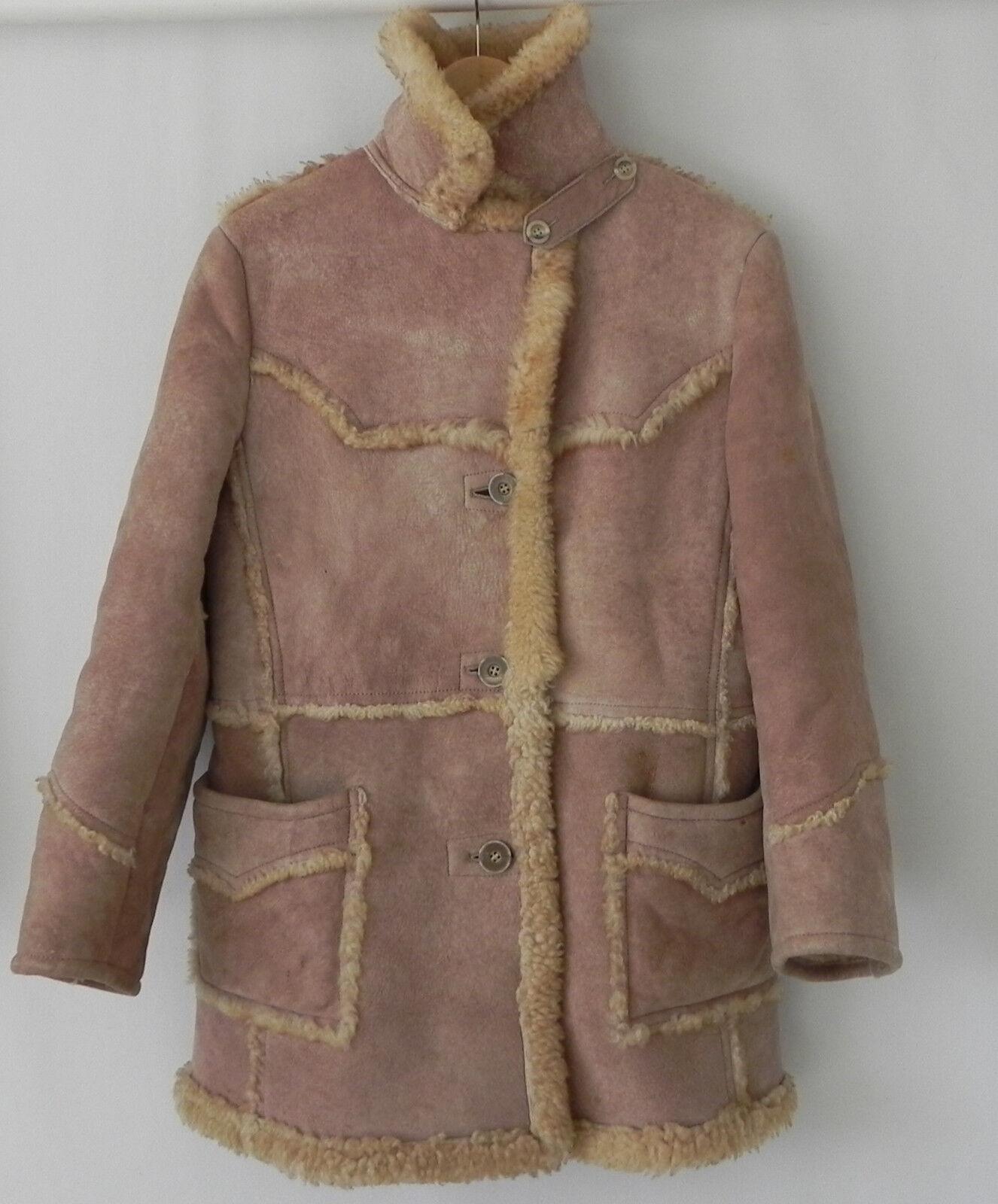 De Colección Justin Shearling Piel de los  bolsillos de abrigo Abrigo De Cuero Talla M Extra Raro  artículos novedosos