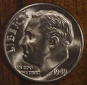 Beautiful 1949-D Silver Roosevelt Dime Gem BU