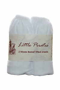 2 x Baby Crib/ Moses Basket Jersey Fitted Sheet 100% Cotton White 30x75cm 633926011371