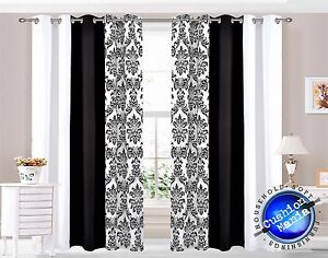 vorh nge sen ringe oben gef ttert fertig voll paar schwarz wei damast 3 farben ebay. Black Bedroom Furniture Sets. Home Design Ideas