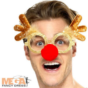 Reindeer Specs Adults Fancy Dress Christmas Rudolph Red Nose Costume Glasses New