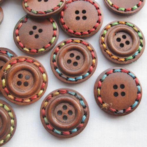 E561 vente 20pcs Marron Bois Boutons avec 4 trous Corde Crafts À faire soi-même Couture 25 mm