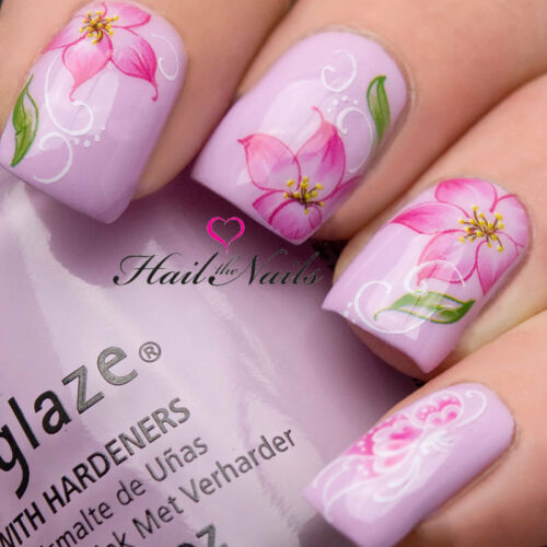 Nail Art Wraps Water Transfers Decals Y105 Pink Flowers Orchid Salon