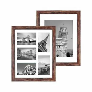 Q.Hou 11x14 Picture Frames Wood Patten Rustic Brown Set of 2, Each Frame with...