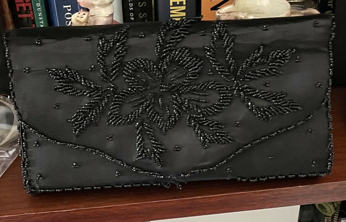 Vintage Philippe Miami British Crown Colony Hong Kong Black Beaded Clutch