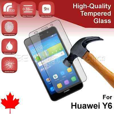 Huawei Y6 Premium Clear Tempered Glass Screen Protector from Canada
